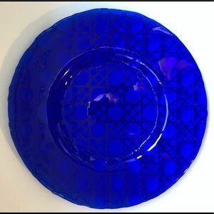 Blue glass decorative plate